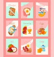 breakfast concept set of cards or banners vector image vector image