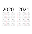 calendar 2020 and 2021 years simple calendar vector image
