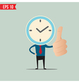 Cartoon Business man with clock face - - EP vector image