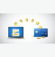 cashback concept golden coins return to credit vector image vector image
