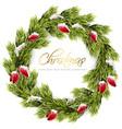 christmas fir wreath frame green fir vector image