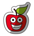 Colorful red kawaii fruit apple happy icon