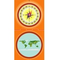 Compass with a map vector image