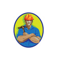 Construction Worker Foreman Arms Crossed WPA vector image vector image