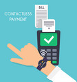Contactless payment Male pay with smart watch pay vector image