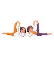 couple women doing yoga pose vector image