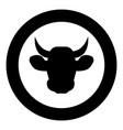 cow head icon black color in circle vector image vector image