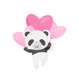 cute little panda flying with pink heart-shaped vector image vector image
