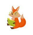 cute smart cartoon red fox character sitting on vector image vector image