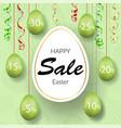 easter sale banner hanging 3d easter eggs vector image