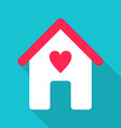 Flat Design House Icon with Red Heart vector image vector image