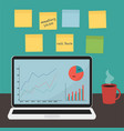 flat design workspace in trendy colors vector image