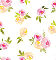 floral background watercolor roses seamless vector image vector image