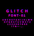 glitch font with distortion effect english vector image