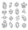 Hand drawn crystals graphic set vintage vector image vector image