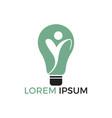 happy human and light bulb logo design vector image vector image