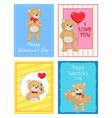 happy valentines day postcards with soft bears vector image vector image