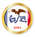 iowa flag button vector image vector image