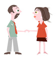 Man and Woman Holding Hands Isolated on Whit vector image vector image