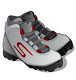 pair of grey ski boots isolated on white vector image vector image