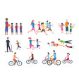 physical activity people flat fitness set with vector image vector image