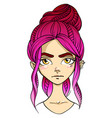 pink-haired girl face distressed facial vector image