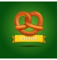 Realistic pretzel on the green background vector image