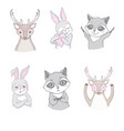 set cute woodland animals isolated on white vector image vector image