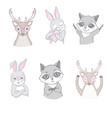 set cute woodland animals isolated on white vector image