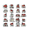 set houses sketch for your design vector image vector image