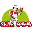 shish kebab cook east kitchen character vector image vector image