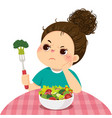 unhappy girl does not want to eat salad vector image
