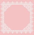 white openwork square frame with lace corners on a vector image vector image