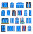 window frames wooden house windows retro room vector image vector image