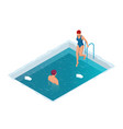 winter swimming in a frozen river man and woman vector image vector image