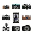 Photo camera flat icons set Retro photography vector image