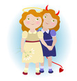 2 cartoon girls - devil and angel vector image