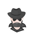 a bearded man in a hat with sunglasses spy vector image