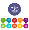 antique wine icons set color vector image vector image