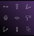 barbershop icons line style set with lashes vector image