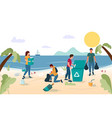 beach cleaning concept for web banner vector image