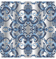 beautiful baroque damask 3d seamless vector image vector image