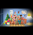 big family christmas party cartoon concept vector image vector image
