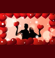 black silhouette couple embracing over valentines vector image