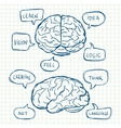 Brain with tihink bubbles vector image