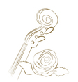 brown violin and rose lines vector image vector image