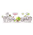 cartoon people and spring time vector image