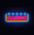 casino neon sign design template casino vector image vector image