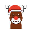 christmas reindeer with hat animal horned funny vector image vector image