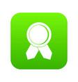 circle badge wih ribbons icon digital green vector image vector image